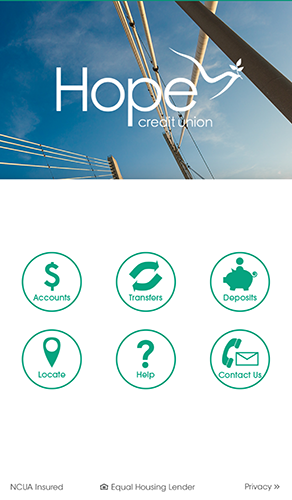 HOPE Mobile Banking - 1.1 - Welcome Screen
