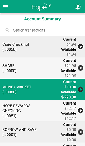 HOPE Mobile - 3.1 - Account Summary - Overview
