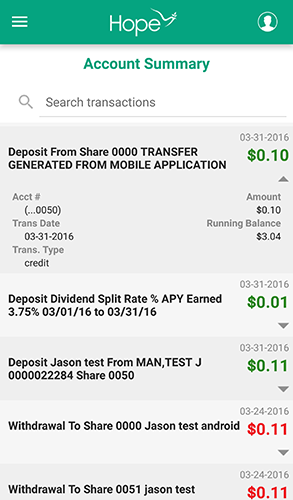 HOPE Mobile - 3.4 - Account Summary - Transaction Detail