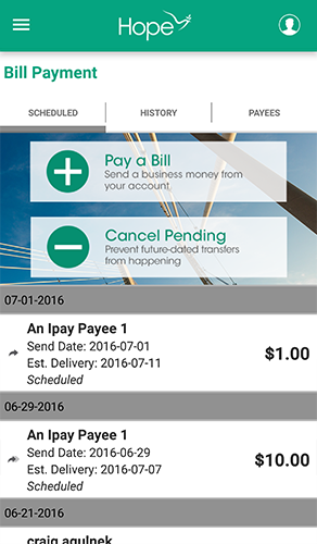 HOPE Mobile - 7.1 - Bill Payment - Scheduled