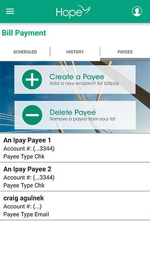 HOPE Mobile - 7.3 - Bill Payment - Payees